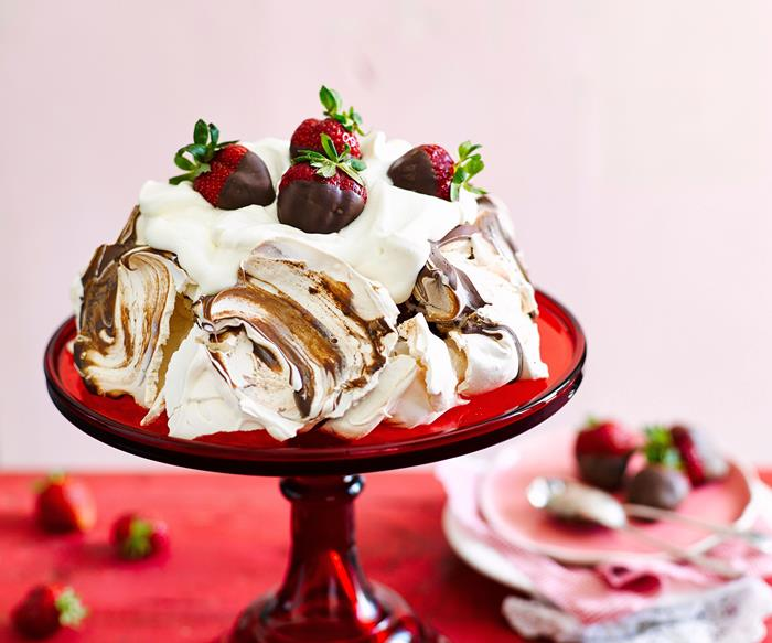 Easter chocolate and strawberry pavlova recipe
