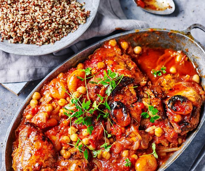 """This [Moroccan-spiced chicken casserole](https://www.womensweeklyfood.com.au/recipes/moroccan-spiced-chicken-casserole-5072