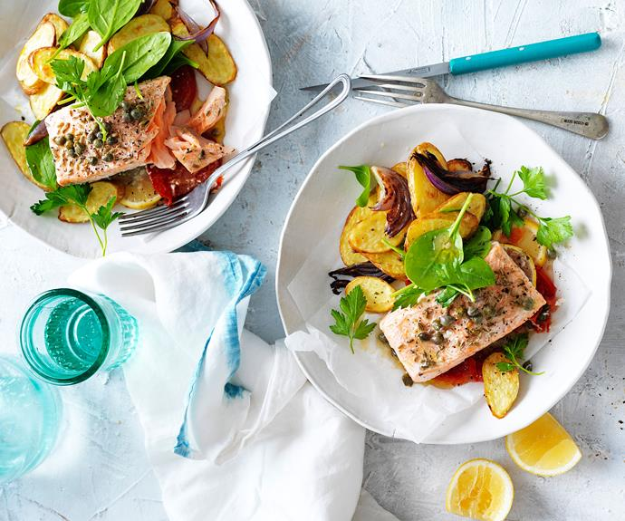 "**[Salmon parcels with kipfler potatoes](https://www.womensweeklyfood.com.au/recipes/salmon-parcels-with-kipfler-potatoes-11457|target=""_blank"")**  Deliciously healthy, we've baked our salmon fillets in a parcel to lock all the flavours, juices and steam away to give a moist and tasty end result. Served with tasty kipfler potatoes, it's a winning dinner dish."