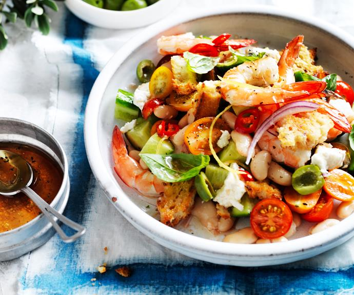 """**[Spicy prawns and white bean panzanella](https://www.womensweeklyfood.com.au/recipes/spicy-white-bean-panzanella-16576