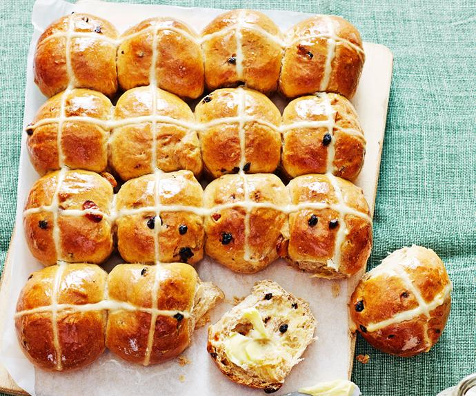 "**[Easy hot cross buns](https://www.womensweeklyfood.com.au/recipes/easy-hot-cross-buns-17617|target=""_blank"")**  The original Easter treat. There's really is nothing better than eating fruit-studded, delicately spiced hot cross buns straight from the oven."
