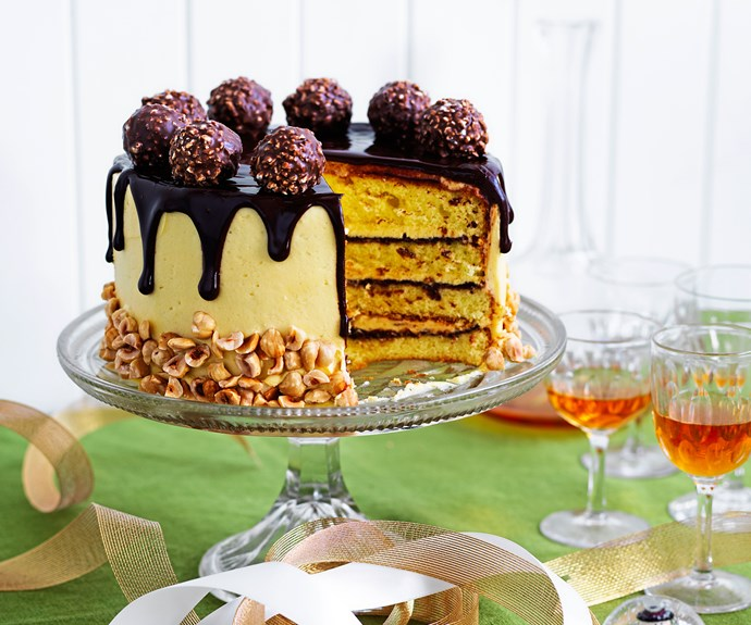 Malted hazelnut layer cake