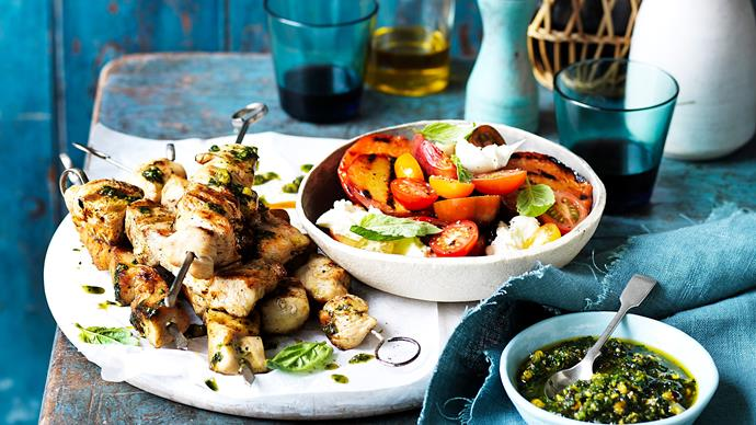Chicken skewers with peach caprese salad