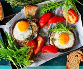 Roasted mushroom with baked eggs