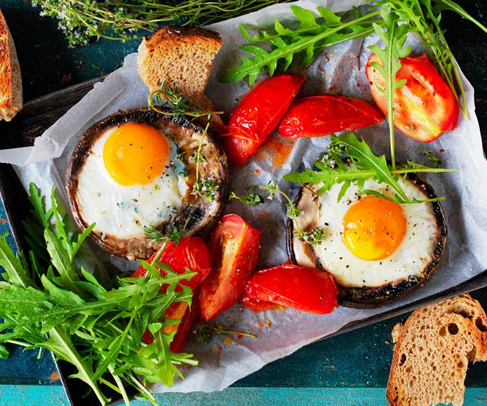 "**[Roasted mushroom with baked eggs](https://www.womensweeklyfood.com.au/recipes/mushroom-baked-eggs-recipe-31090|target=""_blank"")**  *Dairy-free - can be gluten-free with gluten-free toast*"