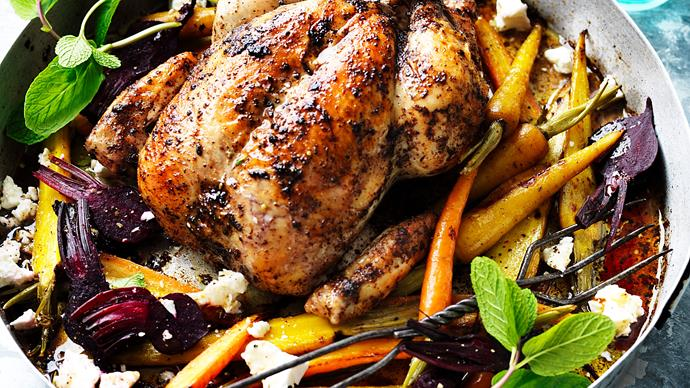 Roasted sumac chicken with baby vegetables