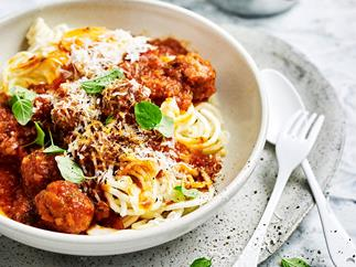Parsnip noodles with spicy lamb meatball ragu
