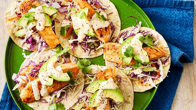 Salmon tacos with chipotle mayonnaise