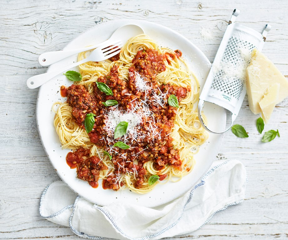 "We've taken out the meat for our **[vegetarian bolognese](https://www.womensweeklyfood.com.au/recipes/vegetarian-bolognese-recipe-31108|target=""_blank"")** but not those classic tastes."