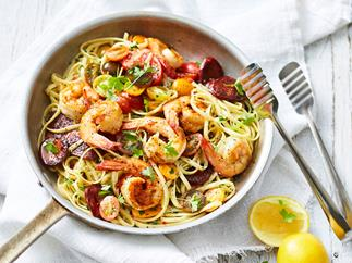 Linguine with garlic prawns & chorizo