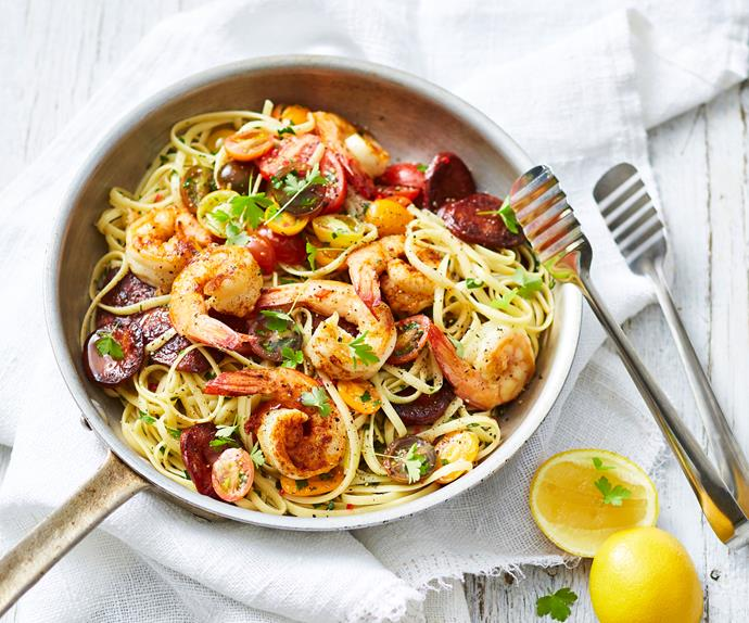 Linguine with garlic prawns & chorizo