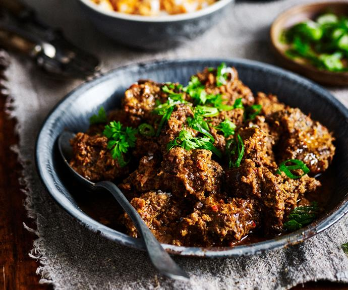 "Succulent, [slow-cooked beef rendang](https://www.womensweeklyfood.com.au/recipes/beef-rendang-recipe-7062|target=""_blank"") develops deep, complex spice flavours as it simmers away."