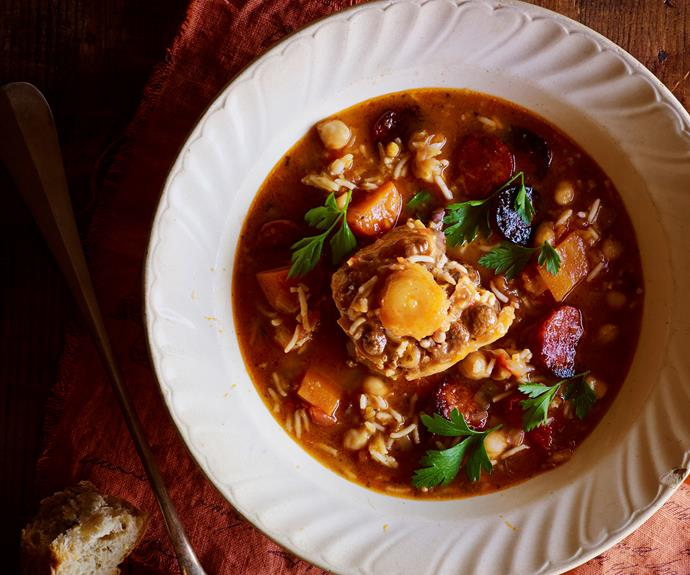 "**[Spanish oxtail and chickpea soup](https://www.womensweeklyfood.com.au/recipes/spanish-oxtail-and-chickpea-soup-28654|target=""_blank"")**  It takes a little while to get the meat so tender but trust us, patience pays off."