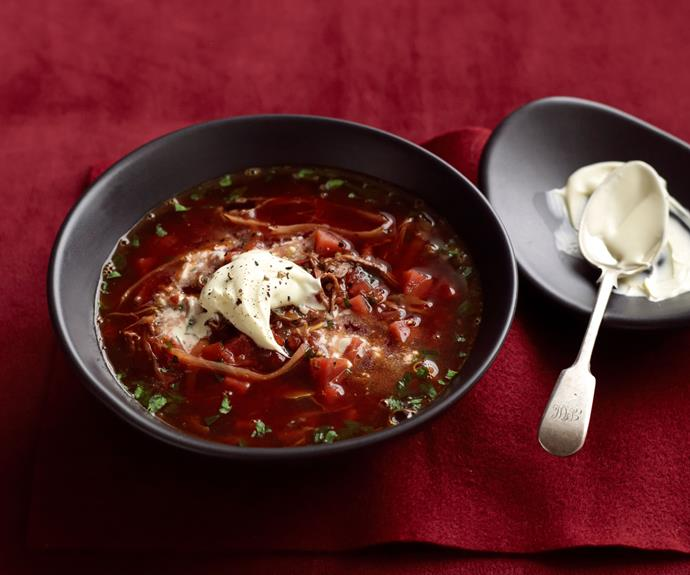 "**[Borscht](https://www.womensweeklyfood.com.au/recipes/slow-cooker-borscht-recipe-5716|target=""_blank"")** is a beetroot soup of Ukrainian origin that is popular in many Central and Eastern European cuisines."