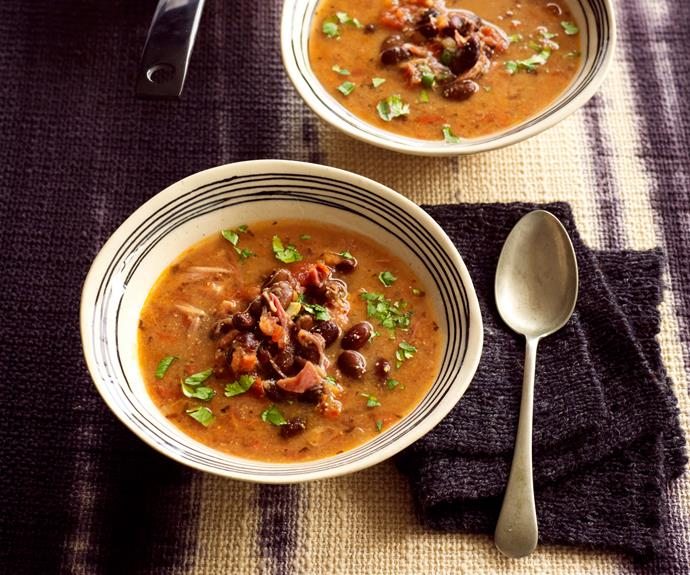 "**[Cuban black bean soup in the slow cooker](https://www.womensweeklyfood.com.au/recipes/cuban-black-bean-soup-8886|target=""_blank"")**  Enjoy delicious south-of-the-border flavours in this simple, but delicious, ham and vegetable soup that does not hold back on the spice!"