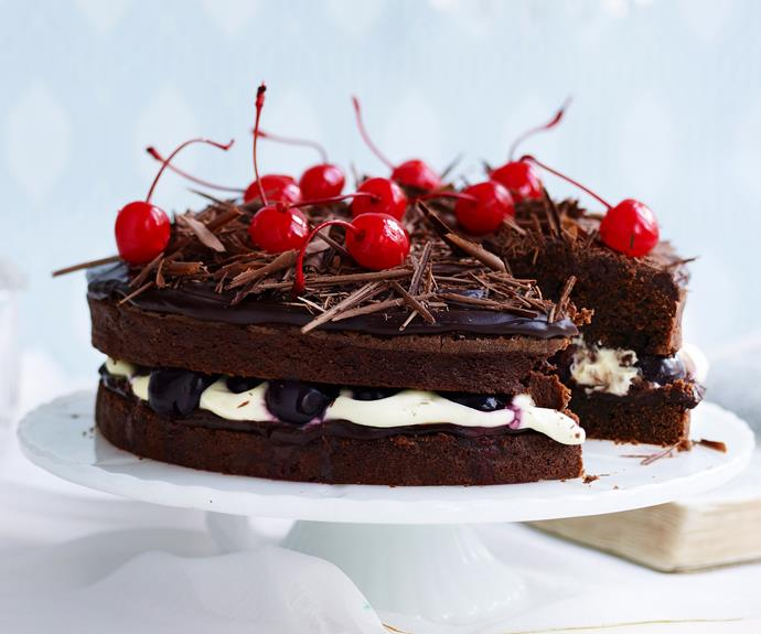 """**[Black forest mud cake](https://www.womensweeklyfood.com.au/recipes/black-forest-mud-cake-10183