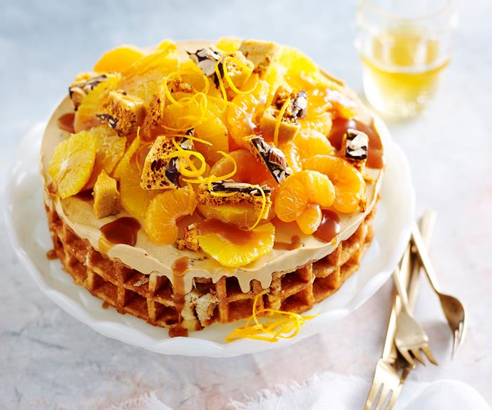 """**[Chocolate caramel semifreddo with honeycomb and mandarin](https://www.womensweeklyfood.com.au/recipes/caramel-semifreddo-recipe-31143