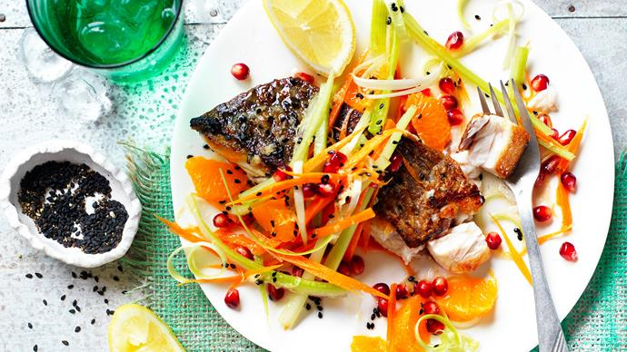 Barramundi recipe with mandarin salsa