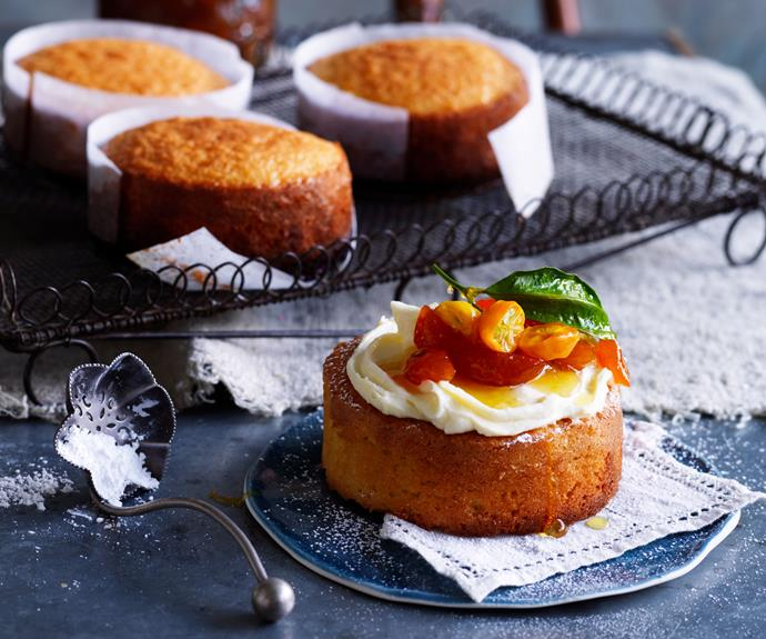 """**[Mandarin almond cakes with candied cumquats](https://www.womensweeklyfood.com.au/recipes/mandarin-almond-cakes-with-candied-cumquats-5437