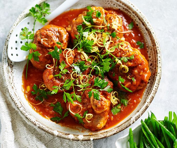 "**[Osso buco](https://www.womensweeklyfood.com.au/recipes/osso-buco-recipe-11797|target=""_blank"")** is traditionally made from cross-cut veal shins which results in the characteristic ring of bone central to each piece."