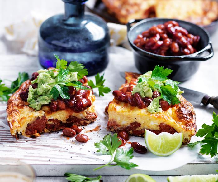 chorizo and tomato omelette with chilli beans