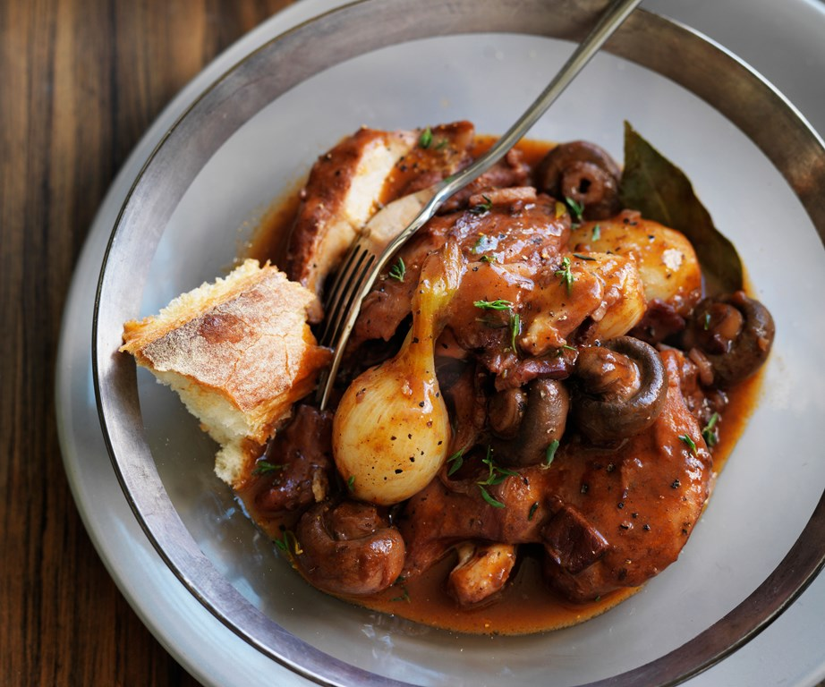 "Richly flavoured with bacon, mushroom, garlic, and wine - this authentic [coq au vin](https://www.womensweeklyfood.com.au/recipes/coq-au-vin-recipe-12182|target=""_blank"") is a classic winter warmer."