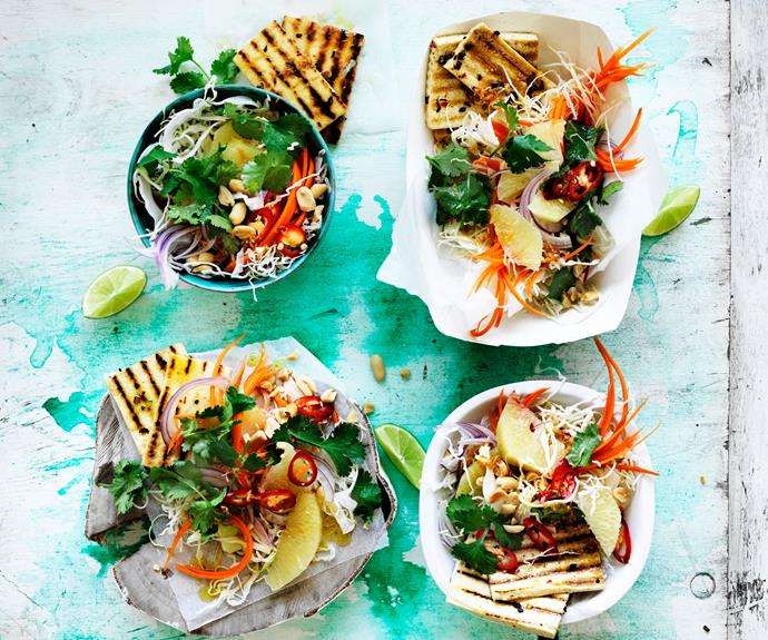 "**[Crispy Thai tofu with pomelo slaw](https://www.womensweeklyfood.com.au/recipes/crispy-tofu-recipe-31148|target=""_blank"")**  Marinated in Thai spices and chargrilled, this delicious tofu recipe absolutely bursting with flavour. Alongside a pomelo slaw, this is a refreshing dinner any night of the week."