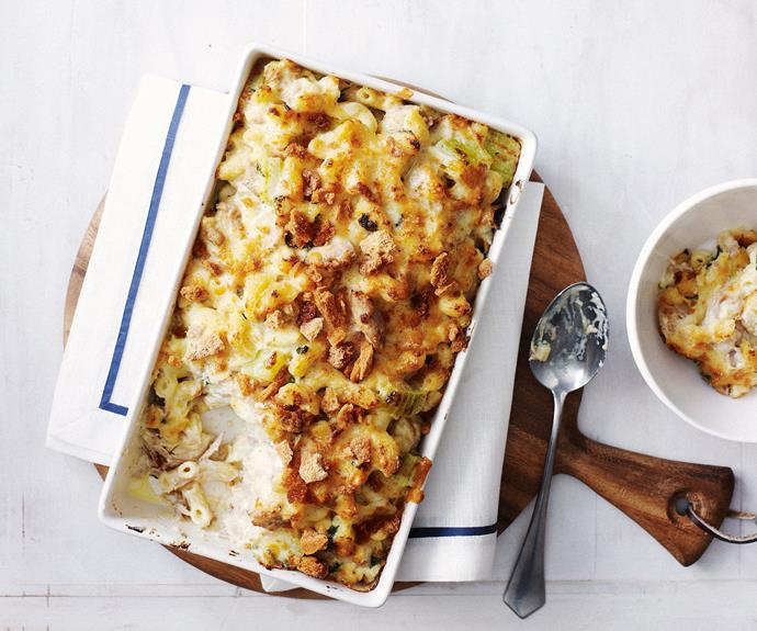 "[Tuna mornay](https://www.womensweeklyfood.com.au/recipes/tuna-mornay-7413|target=""_blank"")  This family favourite is super easy to make and tastes great any night of the week!"
