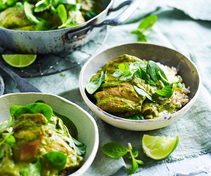 "**[Green masala chicken curry](https://www.womensweeklyfood.com.au/recipes/chicken-masala-recipe-11834|target=""_blank"")**  This green chicken masala recipe is an authentic and healthy curry recipe with a hearty kick of chilli."