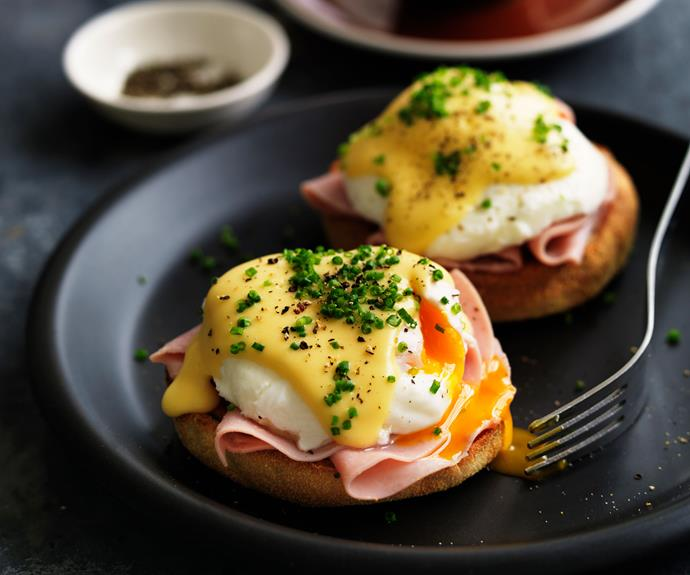 """**[Eggs benedict](https://www.womensweeklyfood.com.au/recipes/eggs-benedict-recipe-27384