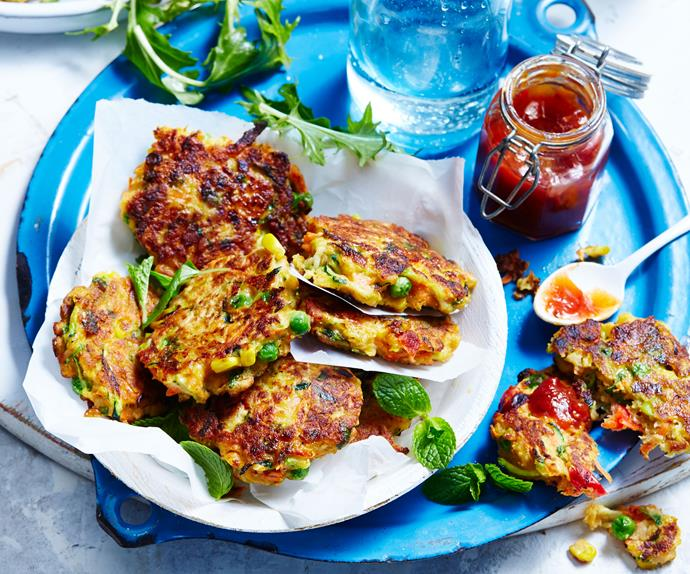 vegetable and chickpea fritters recipe