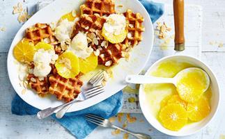 Waffles and ice-cream à la suzette