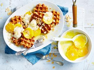 Waffles and ice-cream à la suzette