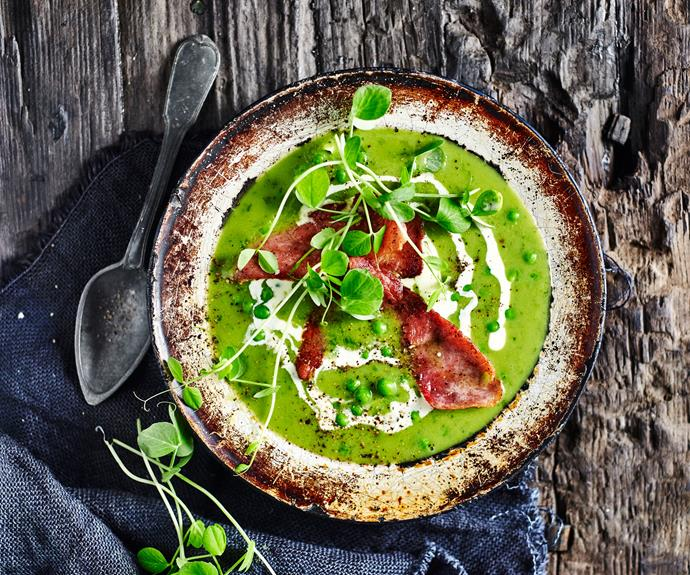 "A true winter classic, [pea and ham soup](https://www.womensweeklyfood.com.au/recipes/pea-and-ham-soup-15599|target=""_blank"") makes a satisfying lunch or dinner, and is divine served up in tiny cups for a winter cocktail party treat."