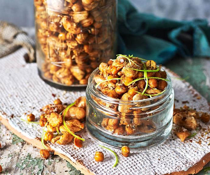 "If you're after a healthy, delicious snack  you simply must give this [sweet and sour roasted chickpeas recipe a try.](https://www.womensweeklyfood.com.au/recipes/roasted-chickpeas-recipe-31158|target=""_blank"")."