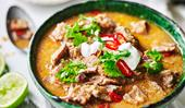 Beef curry with turmeric rice and coconut sambal