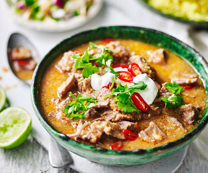 "**[Beef curry with turmeric rice and coconut sambal](https://www.womensweeklyfood.com.au/recipes/beef-curry-recipe-31168|target=""_blank"")**  *Gluten-free - can be dairy-free by omitting yoghurt*"