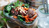 Tamarind beef stir fry with kohlrabi salad