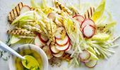 Grilled haloumi, white nectarine  & kohlrabi salad