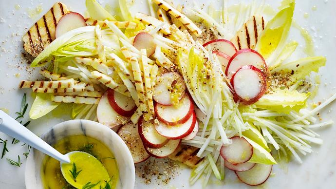 Grilled haloumi salad recipe with nectarine & kohlrabi