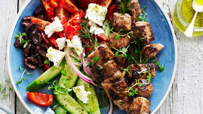 lamb kebabs on rosemary skewers