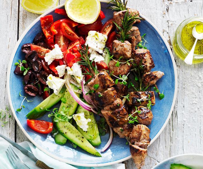 lamb kebabs on rosemary skewers