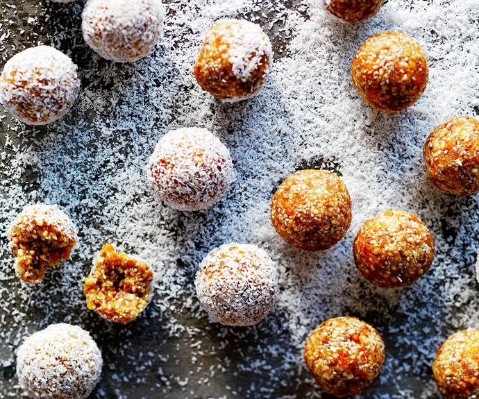 "These deliciously [sweet apricot balls](https://www.womensweeklyfood.com.au/recipes/bliss-balls-recipe-27083|target=""_blank"") are easy to make and a perfect lunch box snack or on-the-go energy hit."