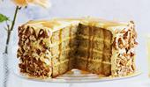 Layered banana butterscotch cake