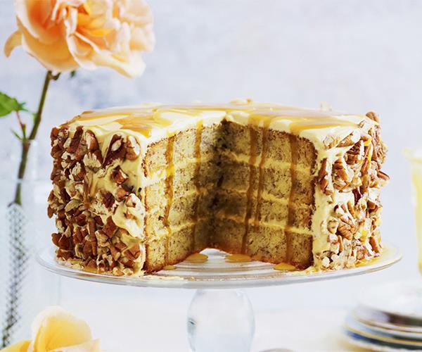 "**[Layered banana butterscotch cake](https://www.womensweeklyfood.com.au/recipes/layered-banana-butterscotch-cake-3686|target=""_blank"")**"