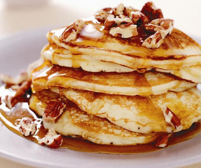 "**[Banana maple pancakes](https://www.womensweeklyfood.com.au/recipes/banana-maple-pancakes-13176|target=""_blank"")**"