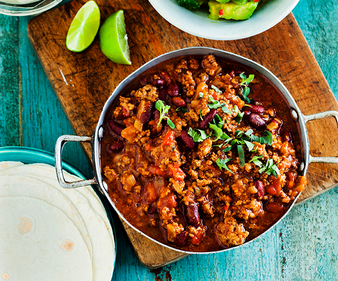 "**[Chilli con carne](https://www.womensweeklyfood.com.au/recipes/chilli-con-carne-14661|target=""_blank"")**  This spicy Mexican stew is a real crowd-pleaser that everyone will love. Serve with rice, corn chips or on top of baked potatoes - just don't forget the sour cream."