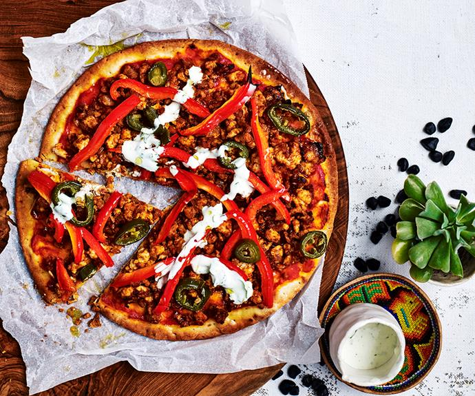 "Use leftover roast chicken in place of mince in this [spiced chicken pizza](https://www.womensweeklyfood.com.au/recipes/spiced-chicken-pizza-31202|target=""_blank"")"
