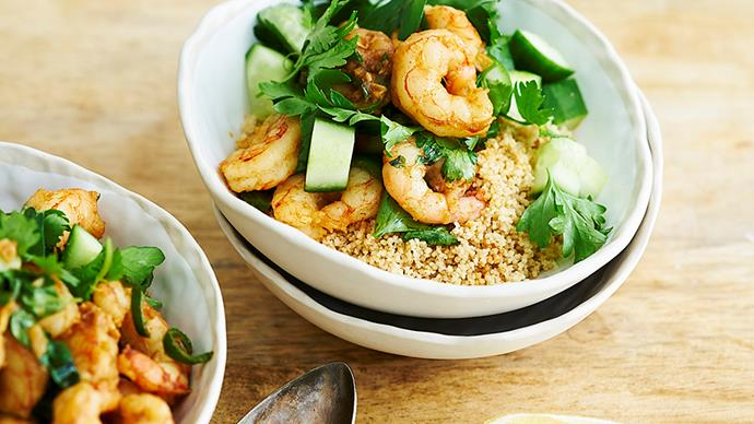 Fried prawns with preserved lemon and green chillies