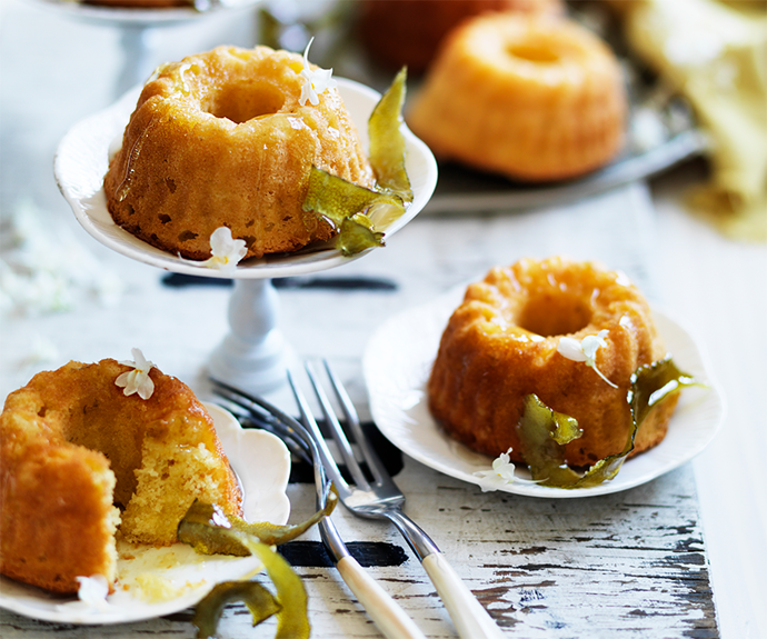 """**[Lime and yoghurt cakes with elderflower syrup](https://www.womensweeklyfood.com.au/recipes/lime-and-yoghurt-cakes-with-elderflower-syrup-28911